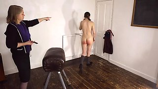 Teen stripped naked and spanked