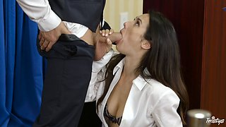 Cock craving brunette craves to be seduced by an influential hunk