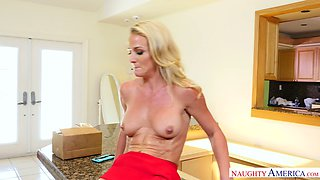 Rather flexible blond haired housewife Sydney Hail gives fantastic BJ