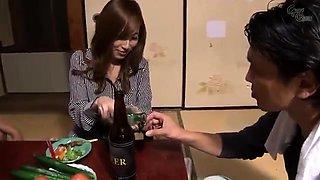 Naughty Japanese housewife enjoys a frenzy of hard cocks