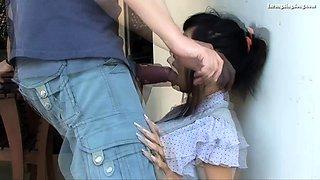 Asian amateur gives outdoor blowjob