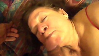 Mexican granny loves to suck dick and plays with her dildo