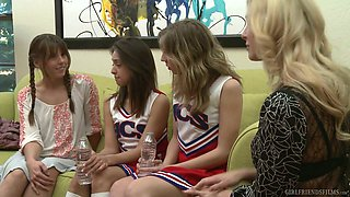 Naughty MILF Cherie Deville lures pretty cheerleader for lesbian intercourse