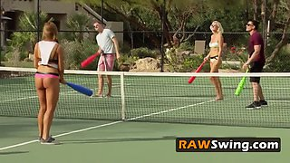 Horny swingers meet up at tennis courts for a steamy game