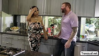 Brunette Busty TS Jessy Dubai gets fuck in the kitchen
