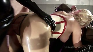 Kinky dude fucks perfectly shaped whores in latex outfit