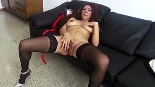 Mexican Glamour Model in Fashion Show Strip and FInger Bang