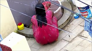 Aunty In Red Nighty Shower