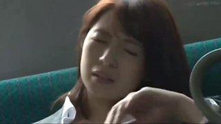 Asian school girl has fun with teacher on bus
