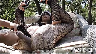Double fisting and dildo fucking her flexible pussy