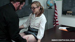 InnocentHigh - Prude School Girl Gracie May Green Fucks Her Professor