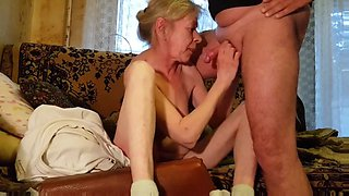 Rusian grayhaired skinny granny husband always cums on tits