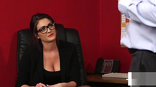 Office beauty instructing wanking sub