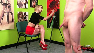 Clothed cutie watches guy jack off his tool