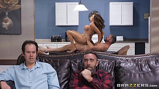 Ariella Ferrera fucks her husband's friend with him in the other room