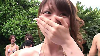Crazy Japanese pool party with lots of naughty girls
