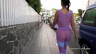 Seethrough outfit in public. sheer leggings. cameltoe