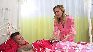 Pretty hot babe Belle Claire wakes up her boyfriend early in the morning