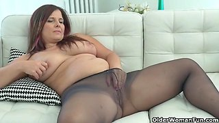 Euro milf ria black loves wearing pantyhose without panties