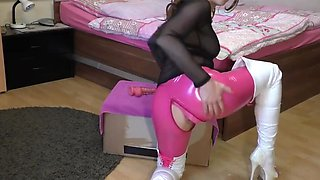 MILF pink latex leggins