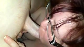 Mature lady with glasses has some seriously great sucking skills