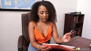 Curly office slut Kayla Louise shows off her tasty looking tits