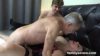 Fucked up father and son pounding an old bitch