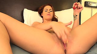 Redhead Makes Her Cuckold Husband Eat Cum From Her Pussy