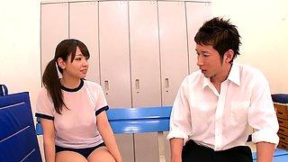 Voluptuous Japanese schoolgirls take turns on a hard prick