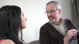 Grandpa Doctor Gets Jumped By A Cute Brunette Teen