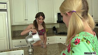 Ally Brooks and Shiloh Sharada hook up in a kitchen for a fuck