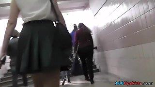 Bombshell in stockings in the upskirt voyeur video