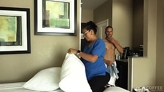 Slutty room service maid gets fucked by hotel guest