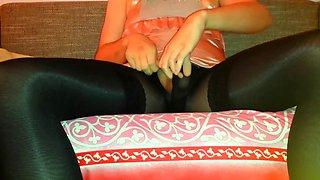 crossdress girl in black tights and stockings
