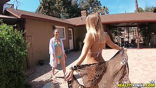 Casey Calvert and her hot friend enjoy masturbating in the pool