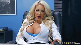 Naughty Busty Nicolette Shea banged balls deep in her office