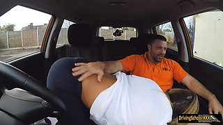 Lusty driving student Aubrey gets banged inside FDS car