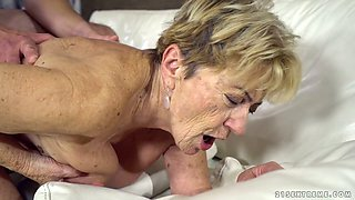 Young dude fucks sex-hungry granny Malya and cums on her face