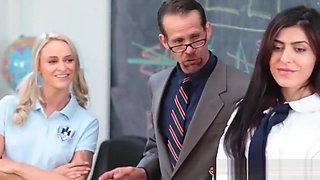Teacher Interrupts Catfight & Bangs Both Of Them