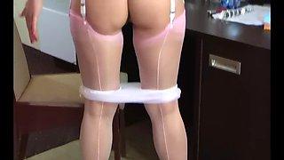 Beautiful polish milf in pink stockings solo