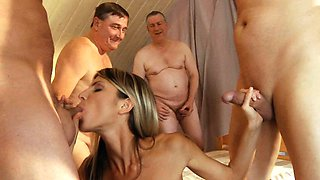 Old school Gang Bang featuring skinny young blonde