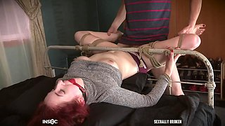 Redhead with pigtails Penny Lay abused with cock down her throat
