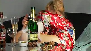 Blonde skanky bitches Olga and Taisia in homely lesbian video