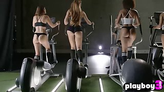 Busty teens hard trained in a gym and show their asses