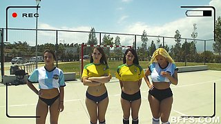Kinky soccer players with juicy tits are ready to ride coach's stiff dick