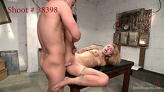 Tied up blonde Lorelei Lee is fucked by aggressive stud