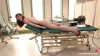 a brutal fuck from a machine for a horny brunette