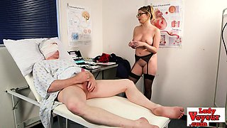 Busty nurse instructs sub guy in CFNM fetish