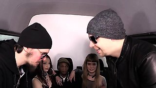 BUMS BUS - Steak and Blowjob Day bus sex with alt German gal