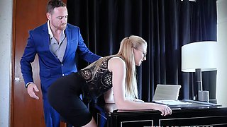 Young secretary Alexa Grace spanked and fed with cum by boss
